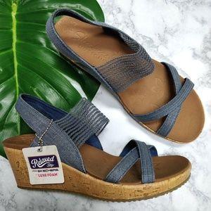 NEW Skechers Beverlee High Tea Wedge Sandal 10